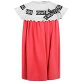 Girls Pink Crepe Threaded Ribbon Dress