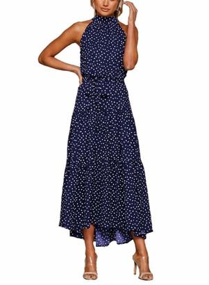 SERAPHY 12 Colors Women Fashion Dot Print Lace-up Dress Summer Casual Elegent Dress Beach Holiday Sleeveless Long Party Dress Cocktail Dress-Dark Blue-M