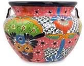 Handcrafted Talavera Style 14 Inch Ceramic Flower Pot, 'Guanajuato Garden'