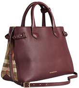 Burberry Tote Bag Handbag Authentic Medium Banner in Leather and House Check Mahoganyred Item 39630371
