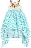 Junior Gaultier Printed Jersey & Striped High-Low Dress