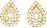 Jewel Zone US 10k Solid Rose Gold Natural Diamond Teardrop Cluster Stud Earrings (1/2 Cttw, I2-I3 Clarity)