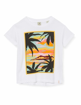Scotch & Soda Girl's Relaxed Fit Tee with Hawaiian Scenery Print T-Shirt