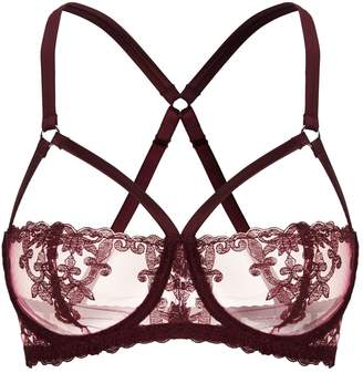 Fleur of England Strappy Embroidered Balconette Bra