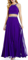 B. Darlin High Neck Tonal Beaded Trim Chiffon Two-Piece Long Dress
