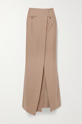 A.W.A.K.E. Mode Draped Asymmetric Wool Maxi Skirt