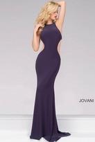 Jovani Gunmetal Fitted Jersey Prom Dress 49916