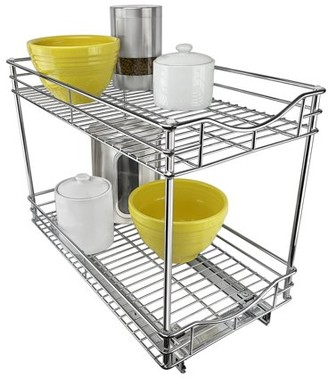 Lynk Professional Slide Out Double Shelf - Pull Out Two Tier Sliding Under Cabinet Organizer - 11 inch wide x 21 inch deep - Chrome