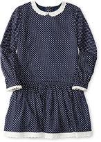 Ralph Lauren Lace-Trim Dot Cotton Dress