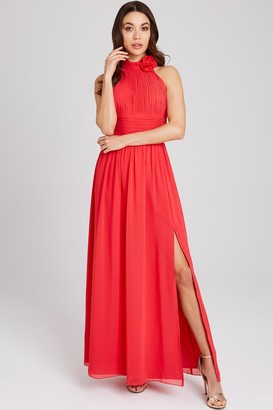 Little Mistress Selma Poppy Corsage Maxi Dress