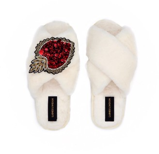 Laines London Cream Fluffy Slippers With Statement Crystal Heart Brooch