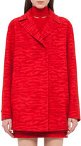 Akris Notch-Collar Tiger-Print Coat, Red