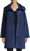 Jane Post Snap-Front High-Sheen Coat