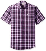 Mens Purple Short Sleeve Button Down Shirt - ShopStyle