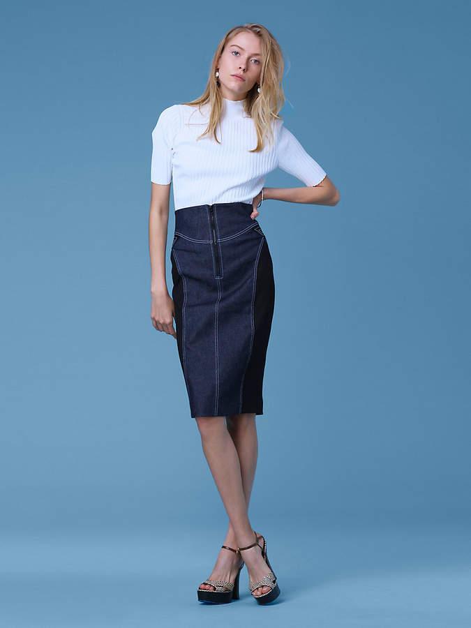 Diane von Furstenberg Zip Front Jean Skirt