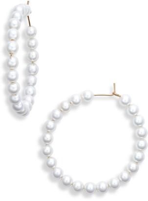 Knotty Imitation Pearl Mini Hoop Earrings