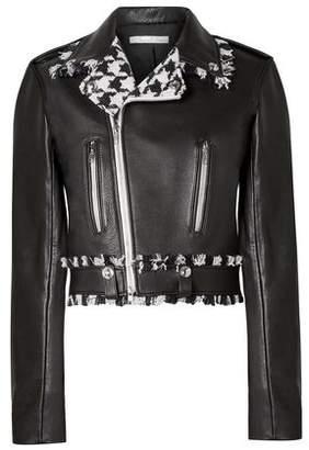 Oscar de la Renta Frayed Houndstooth Tweed-trimmed Leather Biker Jacket