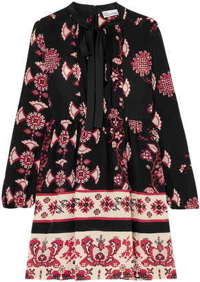 RED Valentino Pussy-bow Printed Silk Mini Dress