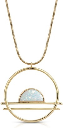 Glamrocks Jewelry Ocean Drive Statement Necklace- Gold/Larimar