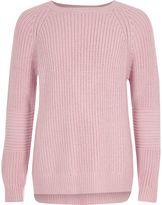 River Island Girls Pink cross open back knit jumper