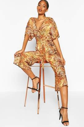 boohoo Tall Leopard And Snake Print Jumpsuit