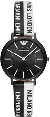 Emporio Armani Women Black & White Logo Silicone Strap Watch 32mm