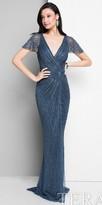 Terani Couture Sequin Twist Tied Surplice Evening Dress
