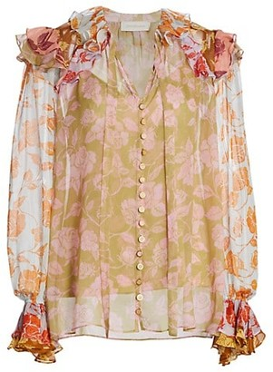 Zimmermann Lovestruck Mixed Floral Ruffle Silk Shirt