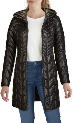 Kenneth Cole New York Chevron Quilted Hooded Parka