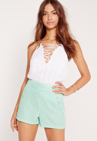 Missguided Button Front Pocket Shorts Green