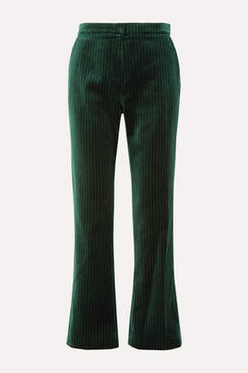 ALEXACHUNG Metallic Pinstriped Cotton-velvet Straight-leg Pants - Dark green
