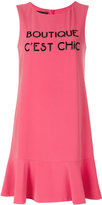 Moschino slogan flared dress - women - Polyester/Spandex/Elastane - 40