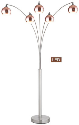 Artiva USA Amore LED Arched Floor Lamp With Dimmer, Rose Copper Brushed Steel