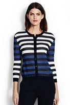 Lands' End Women's Texture Stripe Cardigan Sweater-Ink Black