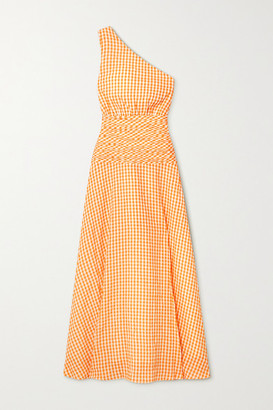 Peony Swimwear Net Sustain One-shoulder Gingham Organic Cotton And Ecovero-blend Dress - Orange