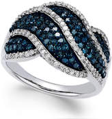 Wrapped in LoveTM White and Blue Diamond Twist Ring in Sterling Silver (1 ct. t.w.)