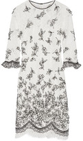 Oscar de la Renta Embroidered Appliquéd Lace Dress - Ivory