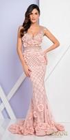 Terani Couture Beaded Cascading Floral Applique Evening Dress