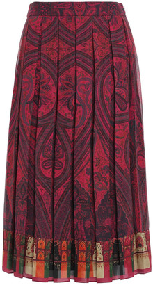 Adam Lippes Pleated Printed Crepe Midi Skirt