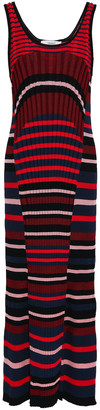 Pringle Fluted Striped Ribbed-knit Midi Dress