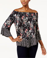 Style&Co. Style & Co Petite Mixed-Print Off-the-Shoulder Top, Only at Macy's