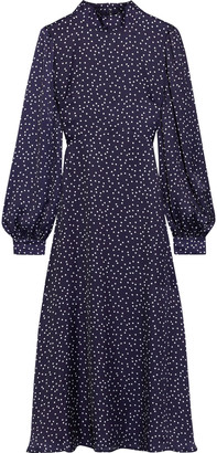 Iris & Ink Alison Polka-dot Satin Midi Dress