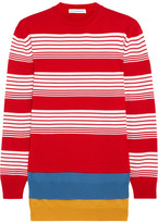 J.W.Anderson Layered Striped Merino Wool Sweater - Crimson