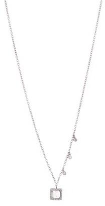 Meira T 14K White Gold Pave Diamond Halo Labradorite Pendant Necklace