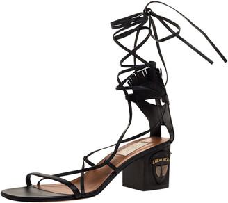 Valentino Black Leather Tribal Mask Block Heel Gladiator Lace Up Sandals Size 41