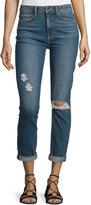 Paige Carter Slim-Leg Harvey Destructed Jeans, Blue