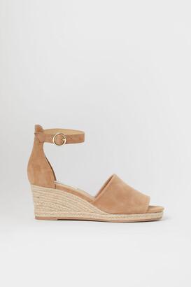 H&M Suede Wedge-heel Sandals - Beige