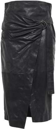 Brunello Cucinelli Wrap-effect Glossed-suede Pencil Skirt