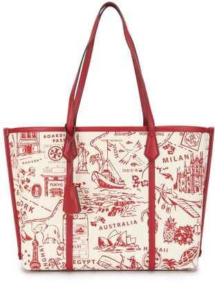 Tory Burch Perry map-print leather-trimmed tote bag