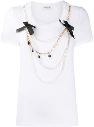 Liu Jo pearl-embellished short-sleeved T-shirt